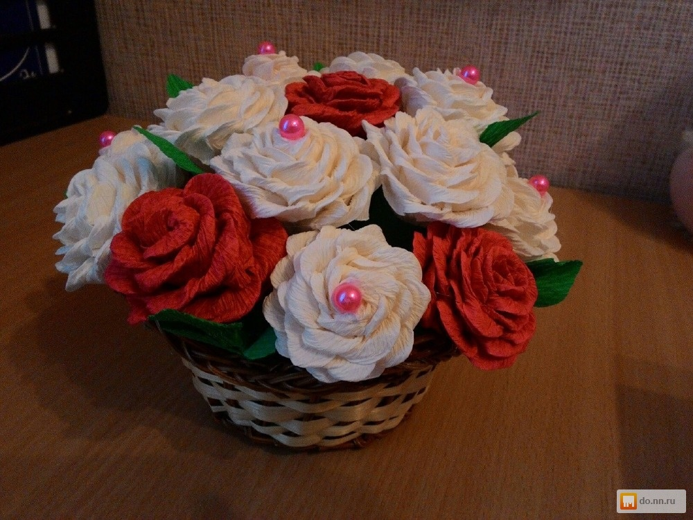 Самодельные цветы из гофрированной бумаги свадебный