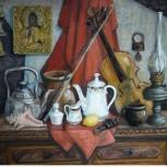 Картина маслом натюрморт с керосиновой лампой, Нижний Новгород