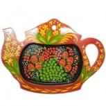 Тарелка поднос деревянный с хохломской росписью чайник 300*210, Нижний Новгород