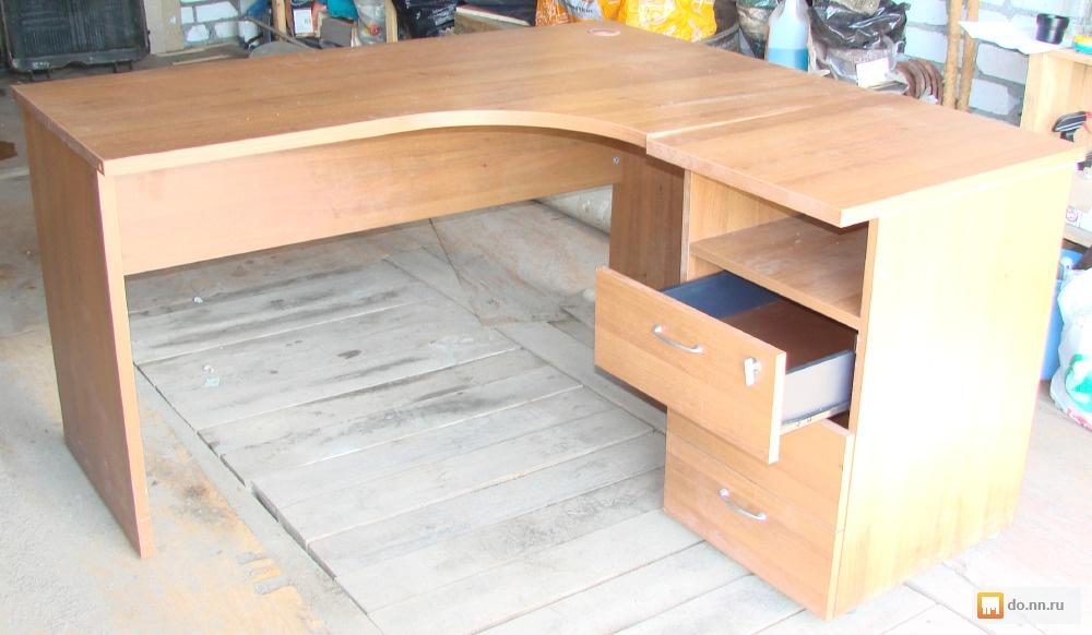 стол письменный офисный угловой с приставной тумбой бу бу фото