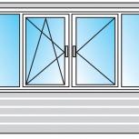 Балкон Пластиковые Двустворчатые профиль 58мм стеклопакет 32мм, Нижний Новгород